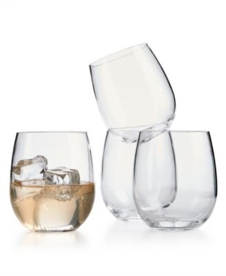 (Martha Stewart Collection 4-Pc. Clear Acrylic Stemless Wine Drinkware Set)
