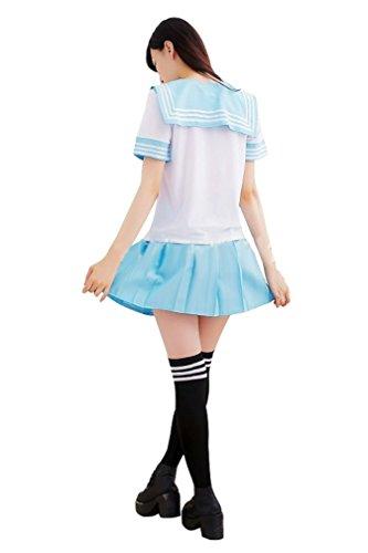 Ninimour- Japan School Uniform Dress Cosplay Costume Anime Girl Lady Lolita (XL, Blue)