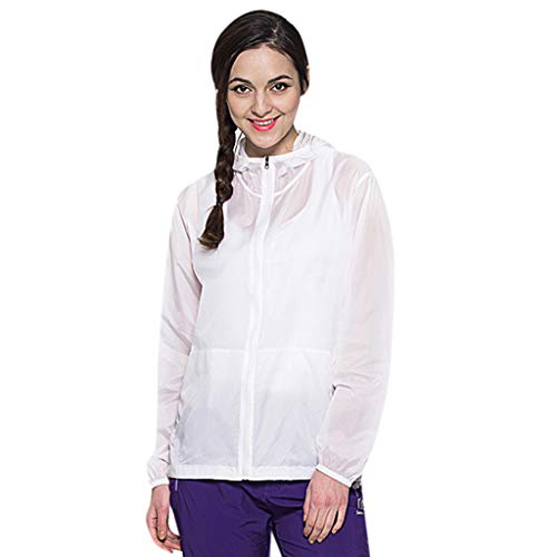 - Women Men's/Youth UPF 50 Sun Protection Hoodie Long Sleeve Performance T-Shirt Windproof Outdoor Bicycle Sports Jacket White
