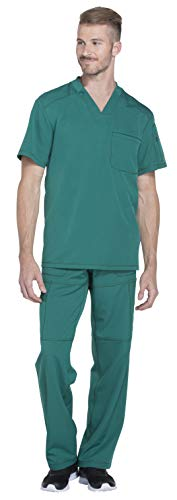 Dickies Dynamix Men's Stretch V-Neck Top DK610 & Men's Zip Fly Elastic Waist Drawstring Cargo Pant DK110 Scrub Set (Hunter Green - Small/Medium)
