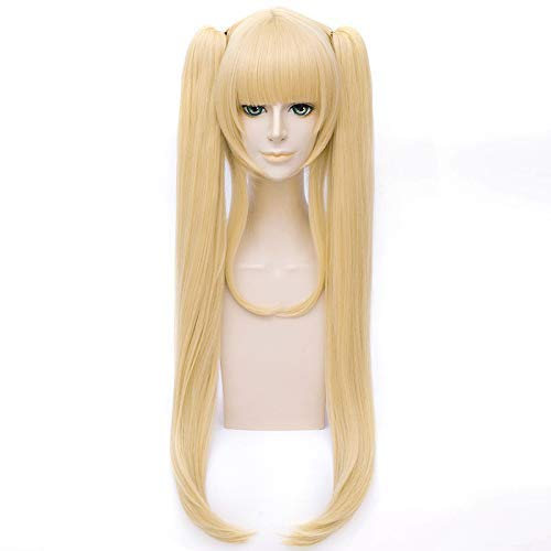 GOOACTION 18''/45Cm Long Straight Blonde Wig with Two Clip On Ponytails 27''/70Cm Length for Heroine no Sodatekata Eriri Spencer Sawamura Cosplay Costume Party Synthetic Wigs for ()