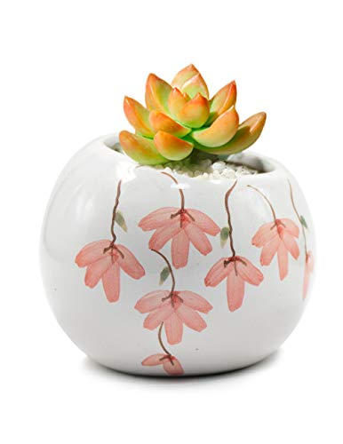 Dahlia Slanted Floral Hand Painted Ceramic Succulent Planter/Plant Pot/Flower Pot/Bonsai Pot #5