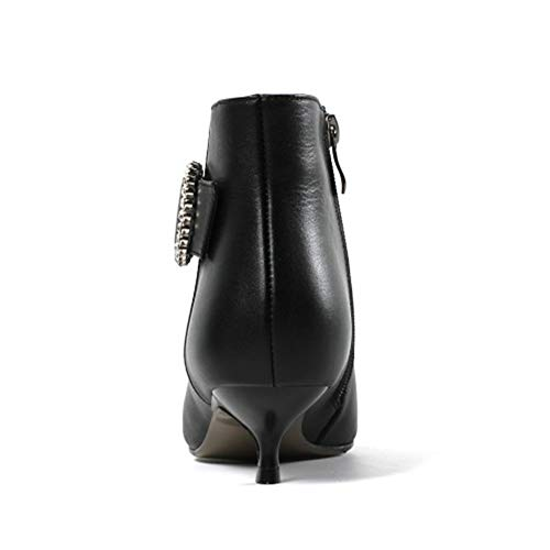 Booties Zipper Diamons Winter MERUMOTE Black Shoes Low Women's With Heels Boots Leather Ankle zqRwx4F