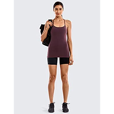 CRZ YOGA Women's Spaghetti Strap Workout Tank Tops with Built in Bra Sports Camisole Compression Long Length at Women's Clothing store