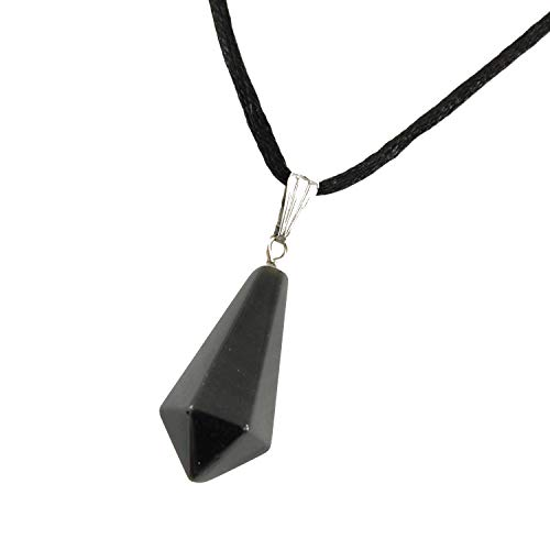 Steampunkers USA Celestial Collection - Classic Pyramid Pendulum Triangle Point, Obsidian Black Pendant 0.98