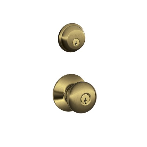 Schlage FB50N V PLY 609 B60 Single Cylinder Deadbolt and F51 Keyed Entry Plymouth Knob Keyed Alike, Antique Brass finish Antique Brass Plymouth