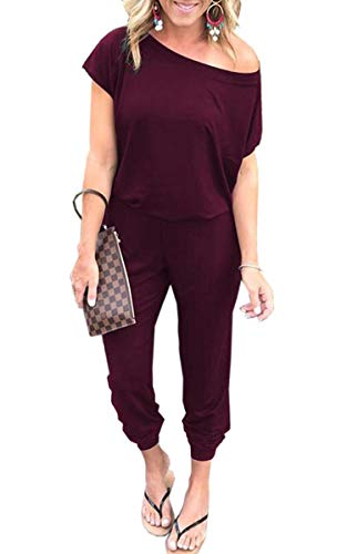 Angashion Women's Jumpsuits - Crewneck One Off Shoulder Short Sleeve Elastic Waist Romper Playsuits with Pockets Wine Red S from Angashion