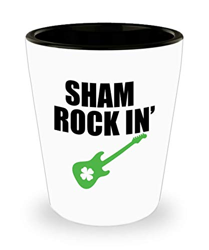 St Patricks Day Guitar - St. Patricks Day Shot Glass - Sham Rockin Guitar Shamrock Image - 1.5 Oz Shot Glasses