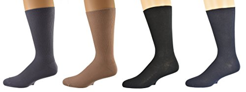 Sierra Socks Men's Diabetic Cotton Dress Casual Crew Ribbed Smooth Toe M11 Assorted (Ribbed Diabetic Socks)