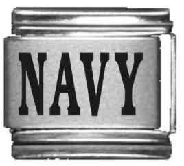 Navy Laser Italian Charm