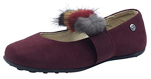 Naturino Girl's Faux Fur Pom Pom Slip-On Elastic Band Mary Jane Flat (Burgundy Suede, 24 M EU/7.5 M US (Naturino Red Shoes)