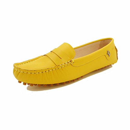 Luxury Leather Driving Classic Moccasins Slip-on Loafers Boat Shoes Flats (7 B(M) US, YELLOW) ()