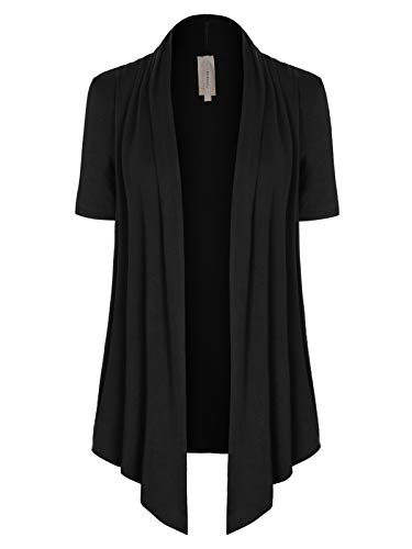 - MixMatchy Women's [Made in USA] Solid Jersey Knit Short Sleeve Open Front Draped Cardigan (S-3XL) Black L