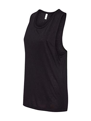 Bella B8803 Canvas Ladies Flowy Scoop Muscle Tank - Black, -