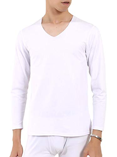 Fseason-Men Utility V-Neck Compression HeatGear Pajama Sleep Set White S