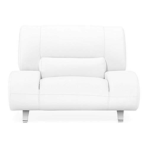 Zuri Furniture Modern Aspen White Microfiber Leather Chair (Chair Barcelona Used)