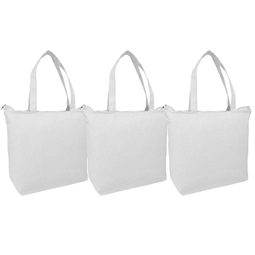 PACK OF 3 Large Heavy Canvas Plain Tote Bags, with Top and I