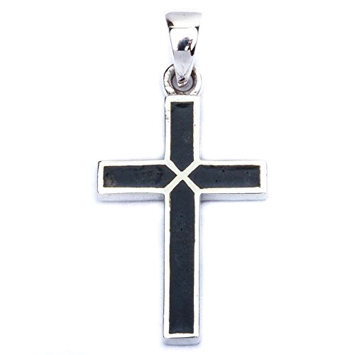 Onyx Black Cross - Simulated Black Onyx Cross .925 Sterling Silver Pendant 1.25'