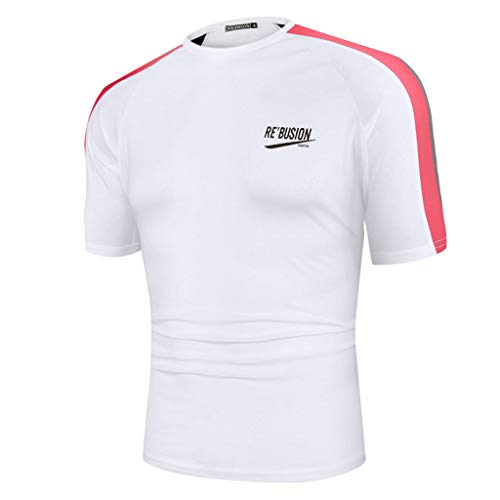 Wilow S Men's Fashion Pure Color Simple Letter Printed Pattern Casual Slim Fit Lapel Short Sleeve Sport Running Shirt White