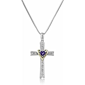 Amazon.com: Sterling Silver and 14k Gold Amethyst Heart
