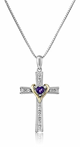 Sterling Silver and 14k Gold Amethyst Heart and Diamond-Accent Cross Pendant Necklace, - February Cross Birthstone