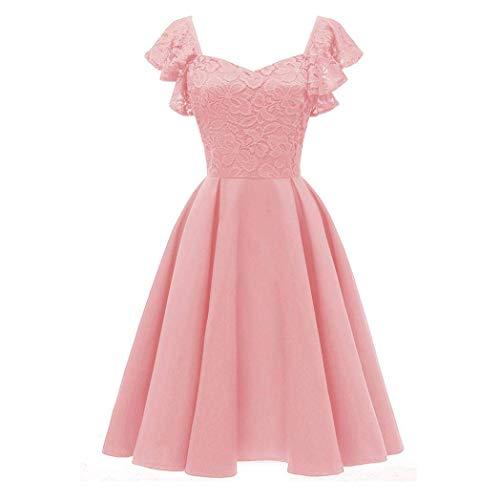 il V-Neck Party A-line Swing Dress Vintage Princess Floral Lace Dress for Women (Color : Pink, Size : XXL) ()