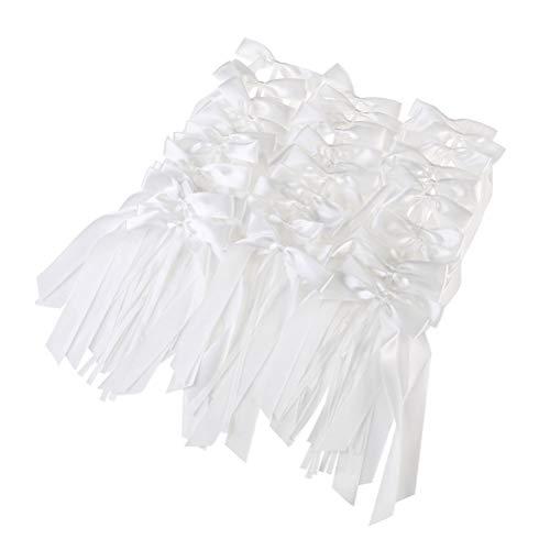NUOBESTY 60pcs Wedding Bows Pew Bows Church Wedding Pew Decorations Wedding Car Chair Bows Decorations Ornaments White ()