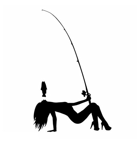 Fishing Pole Dancer Vinyl Decal Sticker Car Auto Wall Laptop Cell Phone, Die Cut Vinyl Decal for Windows, Cars, Trucks, Tool Boxes, laptops, MacBook - virtually Any Hard, Smooth Surface