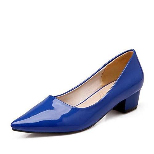 Heel Primavera Rojo Chunky Nappa ZHZNVX Azul Comfort Charol de Zapatos Verde Cuero Talones Green Mujer 44wZYqv