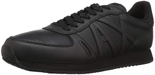 A|X Armani Exchange Men's Lace Up Sneaker with Logo, Black, 11 M ()