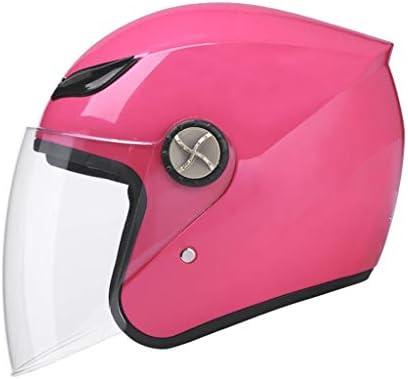 NJ ヘルメット- ユニセックスヘルメット、冬暖かい透明レンズヘルメット (Color : Pink, Size : 25x34cm)