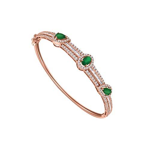 10K Rose Gold Multi-Shape Sim. Gemstone & 1.61 Ct Diamond 3-Stone Style Bangle Bracelet (emerald & real diamond) ()