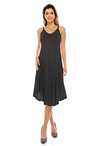 Span Spaghetti Women's Rounded Rayon Style S Charcoal Dress 5X Basic J Doe USA Hem Strap Size Midi fx1nFqIw