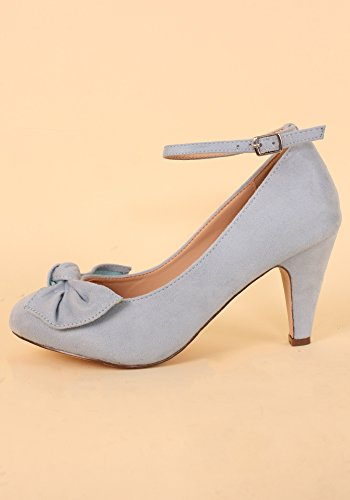 Chase & Chloe Women's Retro Kimmy-67 Bow Front Faux Suede Mary-Jane Pumps Light Blue bDcxI9KC