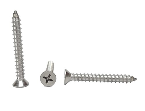 #14 X 2'' Stainless Phillips Flat Head Sheetmetal Screw (3/4'' to 3'' in Listing) 50 Sheet Metal Screws, 82 Degrees (#14 X 2'') by Chenango Supply