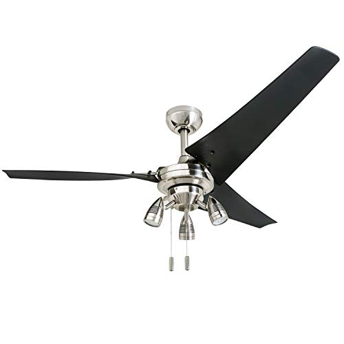 Honeywell 50611 Phelix High Power Ceiling Fan, LED 56 Industrial, 3 Black ABS Blades, Brushed Nickel