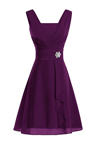 Bride Dresses The Mother V Women's Length Grape Neck Knee Bridal of Bess Chiffon RvqwPP