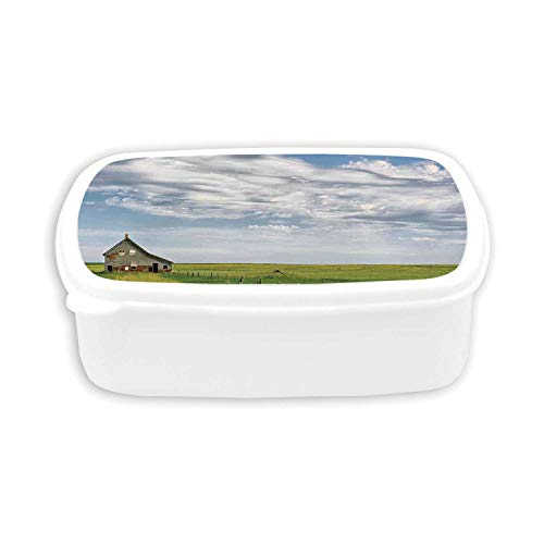 (Rustic Home Decor Durable Plastic Lunch containers,Canadian Timber House in Terrain Grassland with Clouds in Air Landscape For dining room,7.09