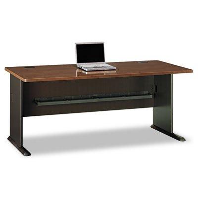 Bush Business Furniture Series A 72W Desk in Sienna Walnut and Bronze