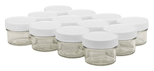 White Jar Pint - North Mountain Supply 4 Ounce Glass Regular Mouth Mason Canning Jars - With White Plastic Lids - Case of 12