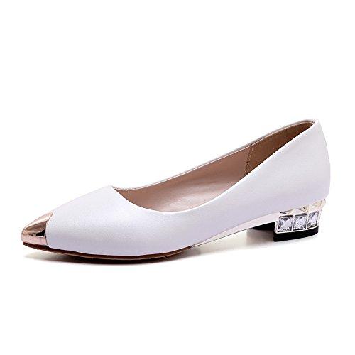 BalaMasa donna in pelle imitato tacco tempestato di strass tacco Electroplate pumps-shoes, Bianco (White), 35