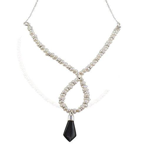 (NOVICA Multi-Gem Jade Cream Cultured Freshwater Pearl .925 Silver Beaded Necklace, 18