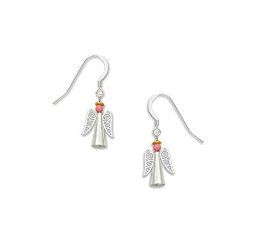 (Angel Earrings with Pink Bead and Silver-tone Filigree Pastel Snowflakes Earrings with Rhinestones by Sienna Sky 1607)