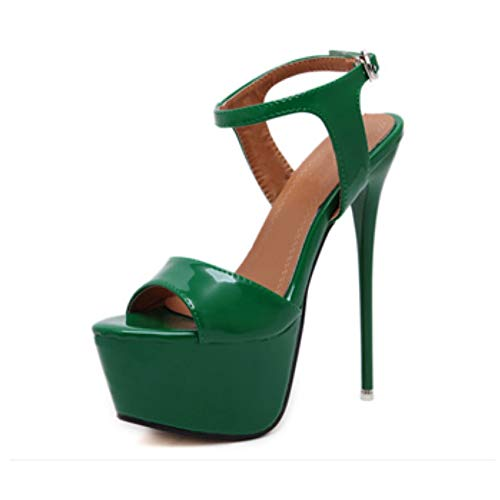 - Women's Open Toe Platform Sky High Stiletto Heel Ankle Strap Buckle Dress Party Heeled Sandals #4 Green Tag 43 - US 10
