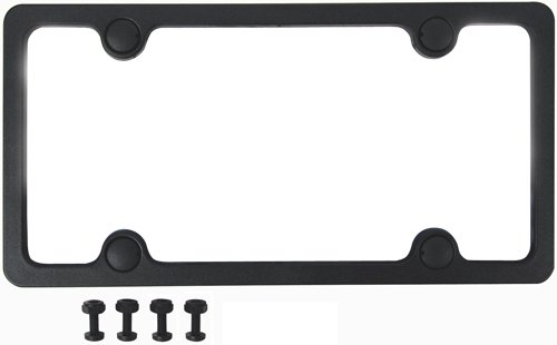 Black Plastic License Plate Frame - Custom Accessories 92502 Sport License Plate Frame with Fasteners