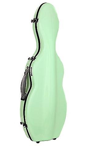 Tonareli Cello-shaped Fiberglass Violin Case - Lime 4/4 - VNF1009 (Violin Case 4 4 Hard)