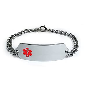 Well-Being-Matters 31YTRigF9CL._SS300_ Diabetes METFORMIN Medical ID Alert Bracelet with Embossed Emblem from Stainless Steel. Style: Classic Wide, Premium…