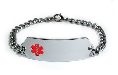 HEART ATTACK Medical ID Alert Bracelet with Embossed emblem from stainless steel. Style: Classic wide, premium (Red Heart Attack Emblem)