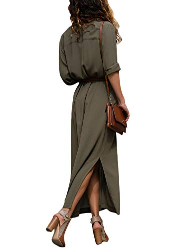 Rolled XL Dress S Casual Neck Side Women V Belt Down Sleeve Long Up Green Dresses Shirt with Button Split Sailed Happy Long wqRIapw