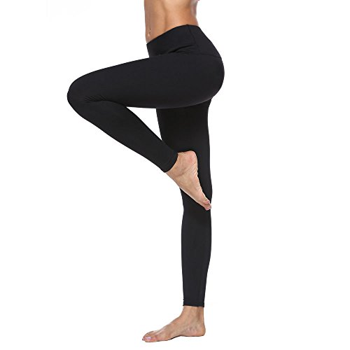 RURING Womens High Waist Yoga Pants Tummy Control Workout Running 4 Way Stretch Yoga Leggings,Medium,Black